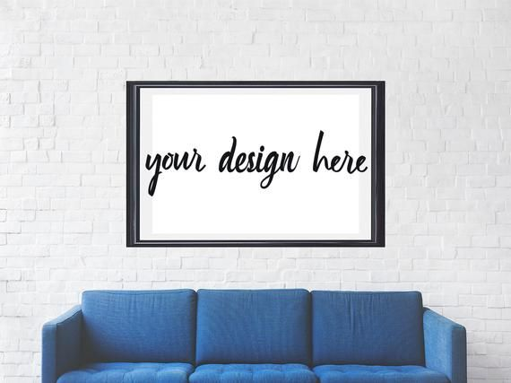 Poster Mockup | Above Couch Large Poster Frame Mockup | Flat Lay Mockup | Living Room Poster Mockup | Mockup for Horizontal Wall Art | JPG