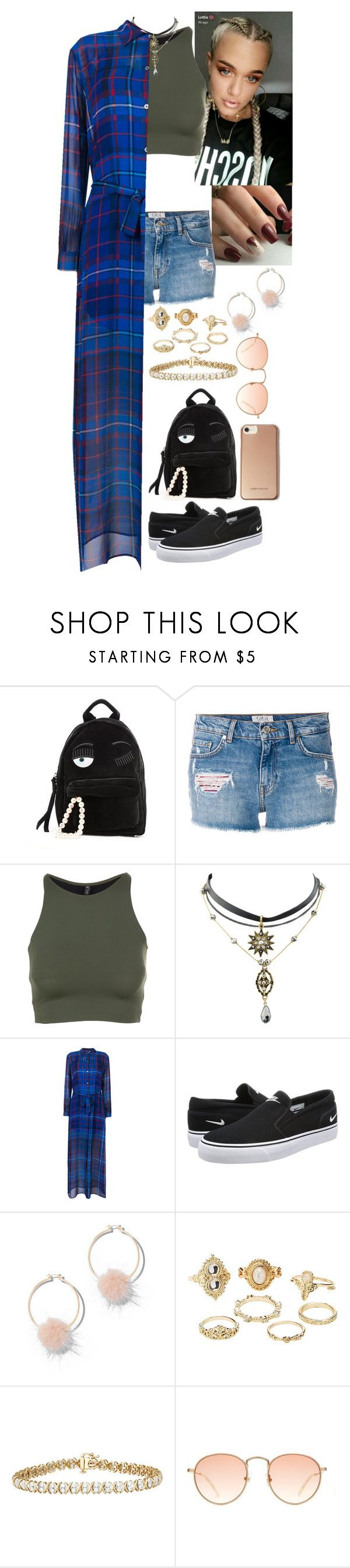 """""""Untitled #1203"""" by fatyhnrqz94 ❤ liked on Polyvore featuring Chiara Ferragni, Tommy Hilfiger, Onzie, NIKE, New York & Company, Charlotte Russe and Karen Millen"""