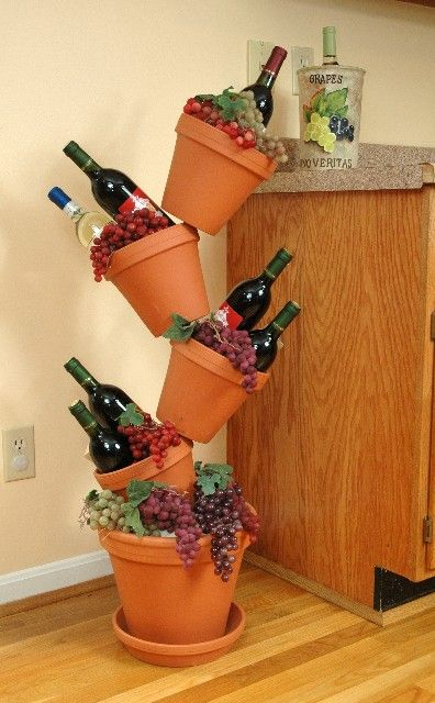 509 best images about clay pot crafts on pinterest for Wine and grape themed kitchen ideas