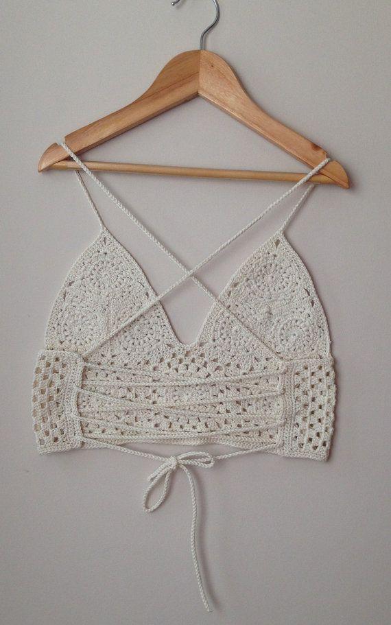 Crochet Bralette / cosecha Top / Bikini. Tamaño XS y pequeños. HECHO A MANO…