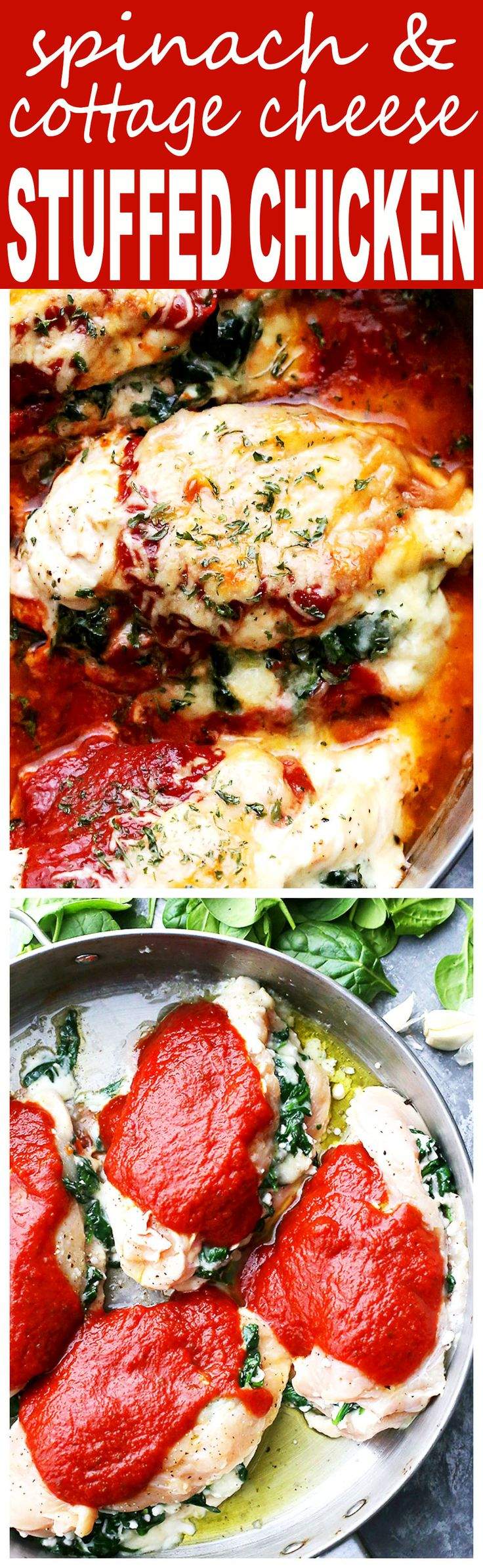 Saucy Spinach and Cottage Cheese Stuffed Chicken - Easy, delicious, yet healthy stuffed chicken breasts with spinach and cottage cheese, all baked in a hot and bubbly pasta sauce
