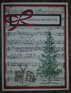 Here's the third card we'll be making at the Stamp-a-Stack on Saturday. This one uses three different sets - Nature Sings, Sheet Music, and Lovely As A Tree. The bow was cut with my Big Shot and the P