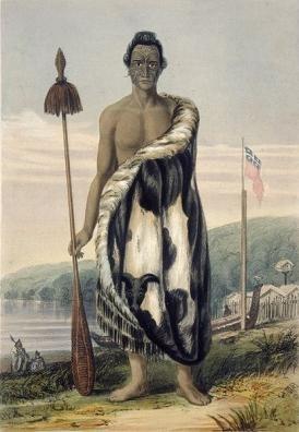 maori chief with taiaha weapon