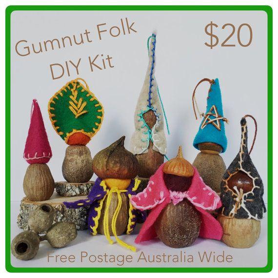 Gumnut Folk DIY Kit Gumnut craft Small by TheNaturalReSourcer
