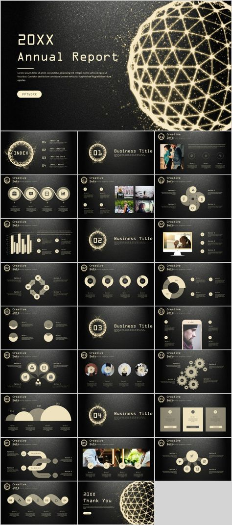 27+ gloden Creative infographics annual PowerPoint Template
