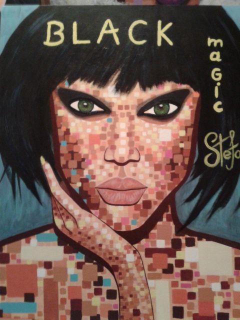 Black magic by STEFANO acrylic on canvas fashion art Tyra Banks 2015 acrylic,painting,portrait,painter,tyra,fashion,supermodel,model,fashion art,fineart,art