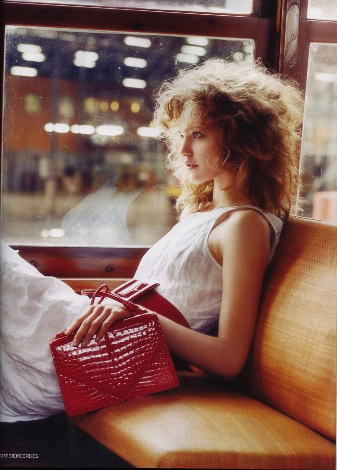 Sasha Pivovarova, model, style, fashion, editorial, red clutch