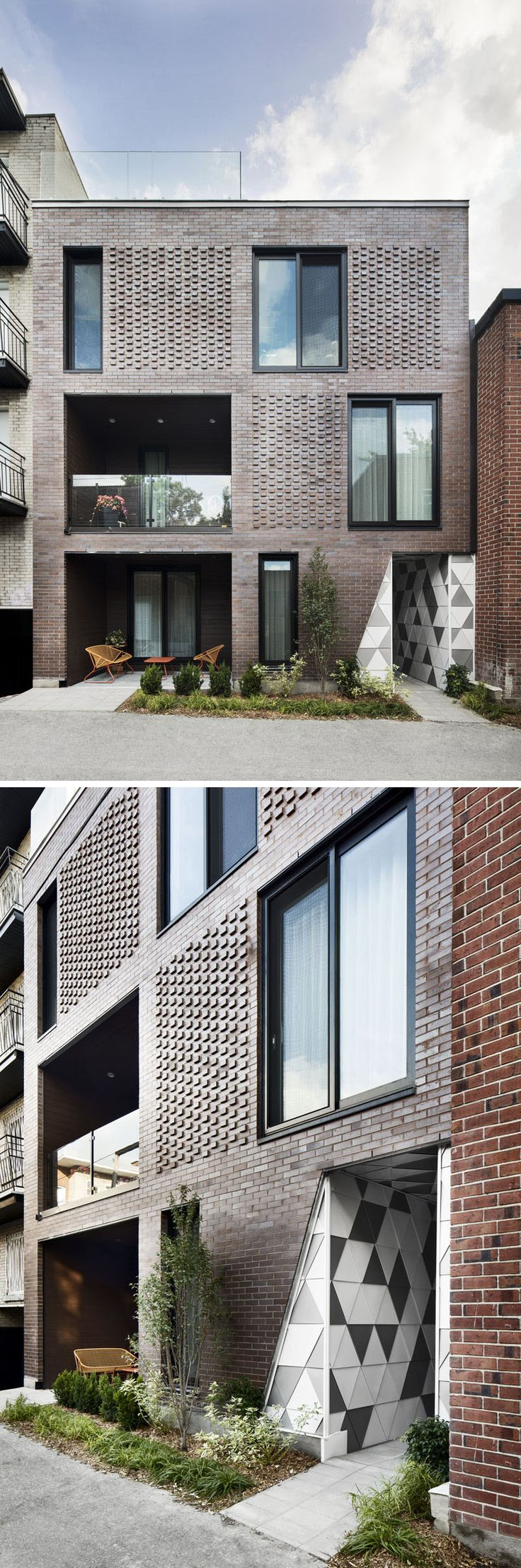 ADHOC architectes have designed a small, brick residential building in Montreal, Canada, that has geometric entryway and is inspired by a Geode. #Architecture #BuildingDesign
