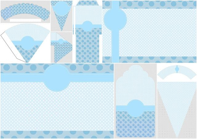 Light Blue and Polka Dots:  First Communion  Free Party Printables and Invitations.
