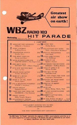 WBZ 1030 BOSTON MASSACHUSETTS MUSIC SURVEY FEBRUARY 11, 1967  ORIGINAL