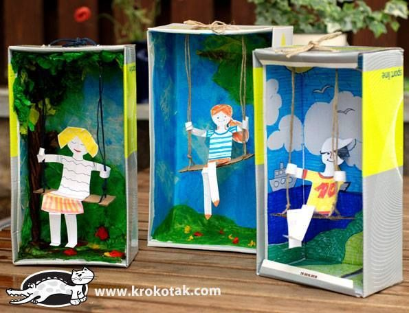 Super cute diorama of kids on a swing... a scene from a book perhaps?