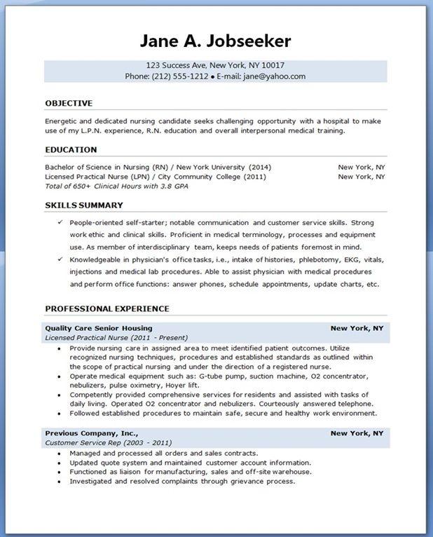 sample resume for nursing student