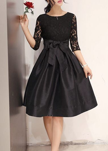 Round Neck Lace Patchwork Black Dress on sale only US$26.37 now, buy cheap Round Neck Lace Patchwork Black Dress at lulugal.com
