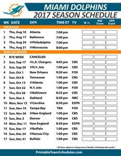 2017 Miami Dolphins Printable Schedule