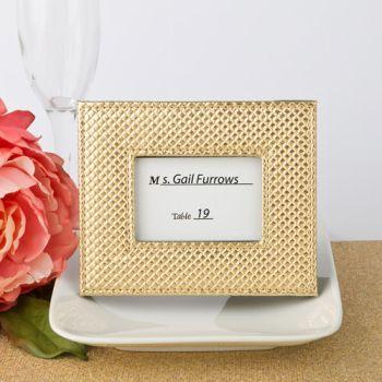 gold metallic photo frame or placecard holder textured leatherette diamond finish