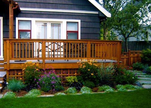 Deck landscaping like the lattice under the deck for Front garden decking ideas
