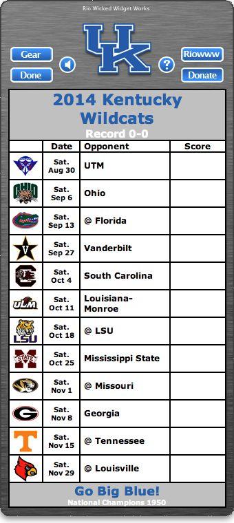 BACK OF WIDGET - Free 2014 Kentucky Wildcats Football Schedule Widget for Mac OS X - Go Big Blue! - National Champions 1950 http://riowww.com/teamPages/Kentucky_Wildcats.htm