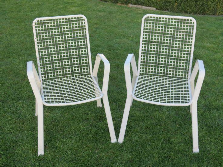 Metall Stuhl Gartenstuhl Gartenstühle Drahtstuhl Stühle Stuhl Gitter 70er