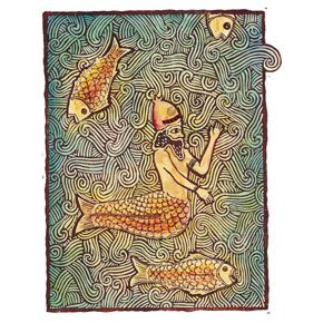 """""""Oannes, Babylonian god, 5000 BC""""  """"Mermaid's Most Amazing by Narelle Oliver, Omnibus 2001""""  Hand-painted linocut and collage"""