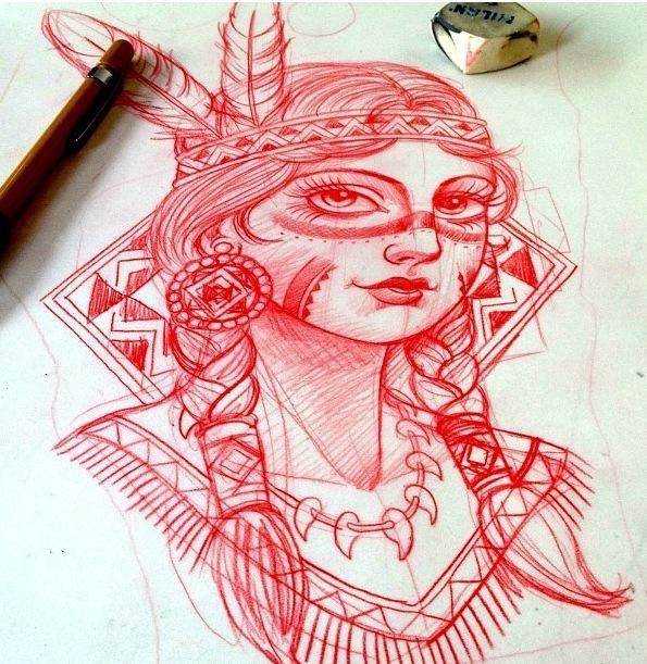 American Indian Girl Design – Best tattoos, best tattoo artists