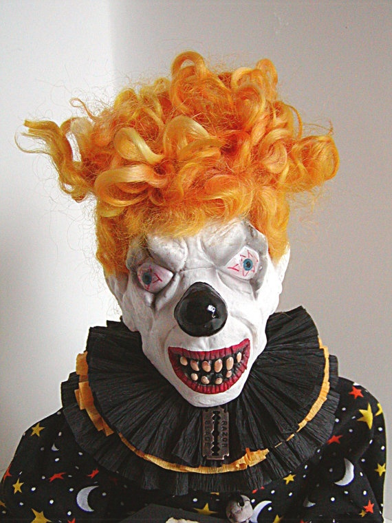 Clown Doll Scary Clown Yellow Creepy Clown by thecattsuglybabies, $60.00