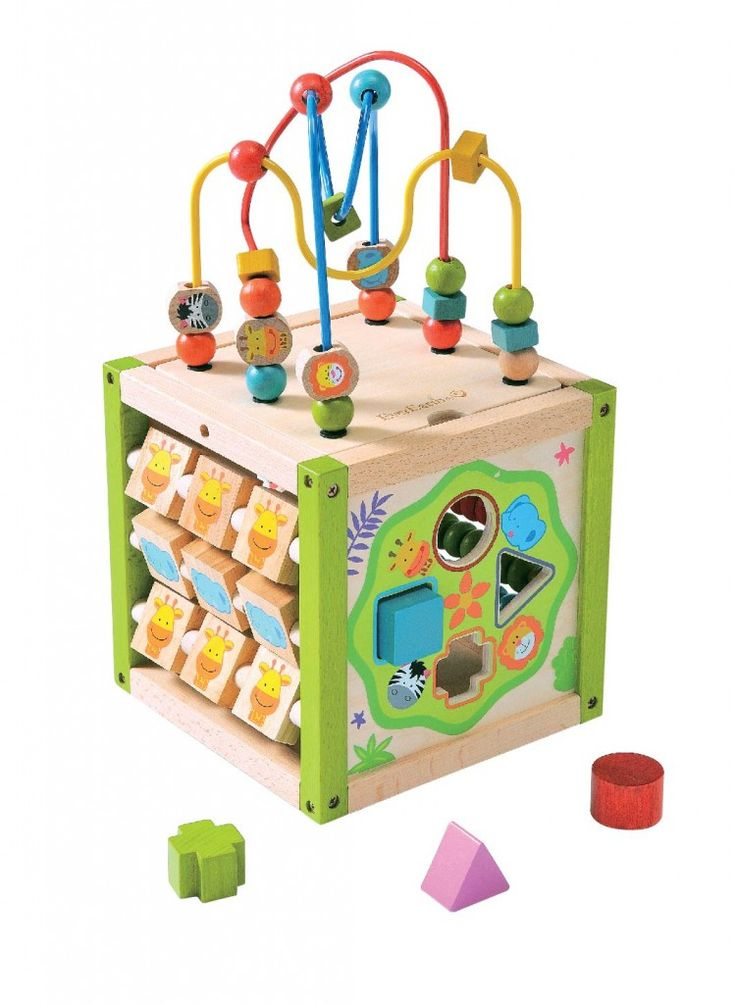EverEarth My First Multi-Play Activity Cube his Award-Winning, multifunctional expertly crafted activity cube includes a removable and reversible top with beads, a sliding peg board, a shape sorter and tic tac toe.  Assists in improving eye-hand coordination, shape recognition and thinking skills.