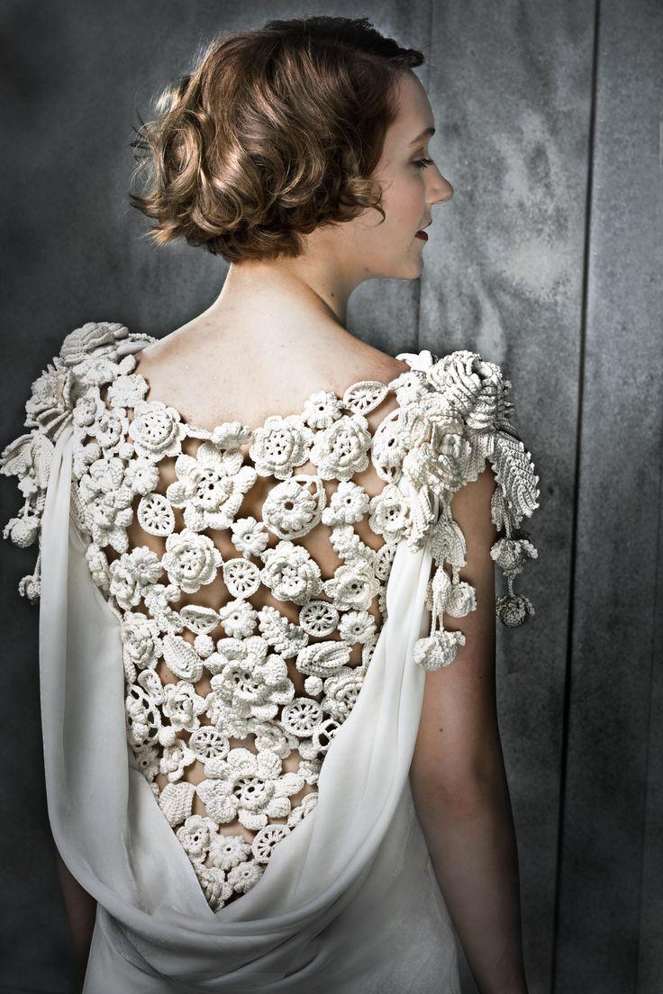 Irish Floral Crochet Dress. Deep cowl back filled with Irish crochet. Six layered flower on each overflowing crochet shoulder      ♪ ♪ ... #inspiration #diy GB http://www.pinterest.com/gigibrazil/boards/