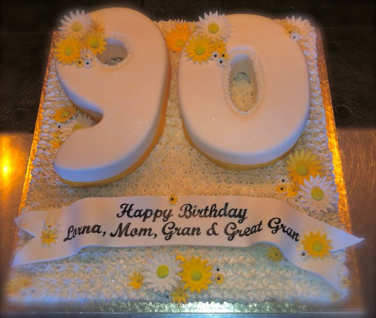 Buttercream daisy patch and fondant 90th birthday cake for 90th birthday cake decoration ideas