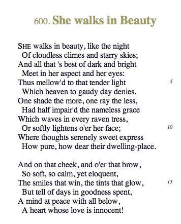 She Walks in Beauty - Lord Byron ( one that #nealcaffrey recites in Upper West Side Story) #whitecollar