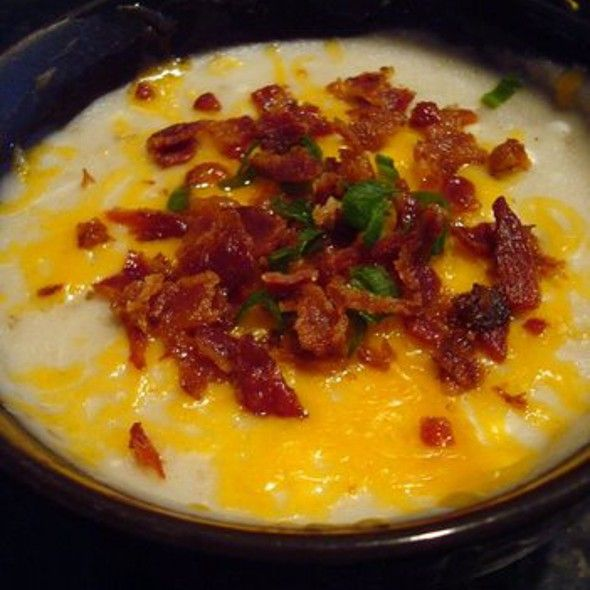 Baked Potato Soup with Cheese & Bacon - http://www.thinkarete.com/baked-potato-soup-cheese-bacon/