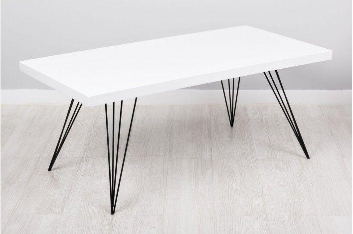 Mesa de centro blanca con patas metal - Merkamueble