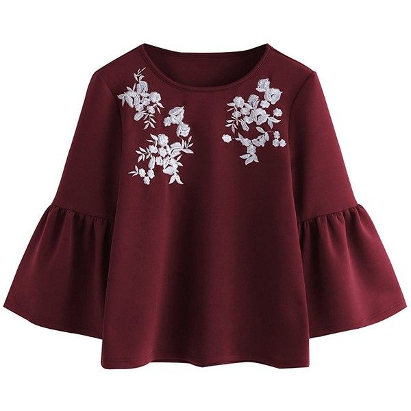 Romwe Women's Cute Round Neck Embroidered Bell Sleeve Blouse Top ($16) ❤ liked on Polyvore featuring tops, blouses, red button up shirt, red shirt, button-down shirts, bell sleeve blouse and red button down blouse