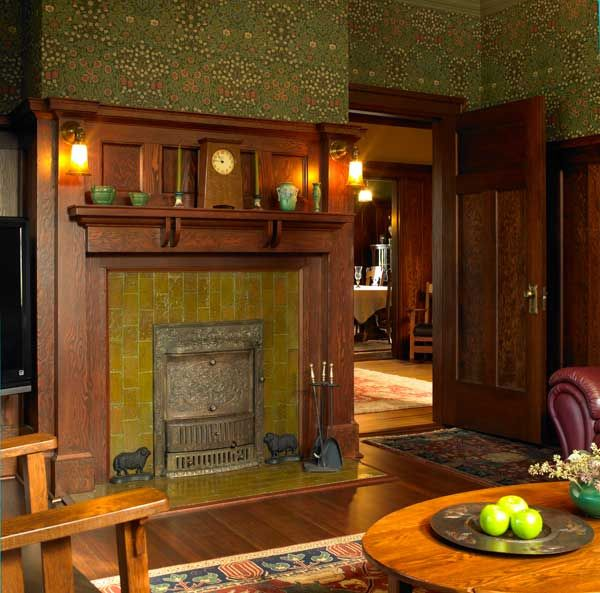The den, like the dining room, has fireplace tile laid vertically, a feature of architect Maclure's houses. From Arts and Crafts Homes and the Revival magazine