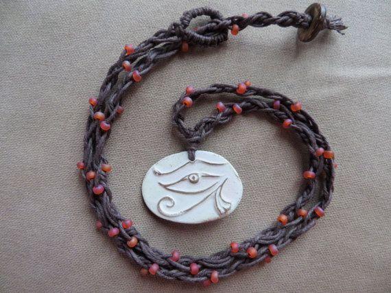 Hemp Necklace Eye of Horus Ceramic and by PerpetualSunshine111, $22.00