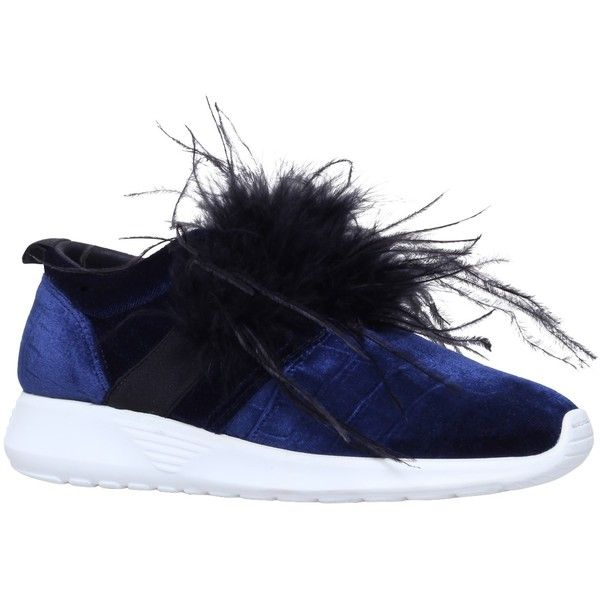 Kurt Geiger Lucille Feather Embellished Slip On Trainers ($250) ❤ liked on Polyvore featuring shoes, sneakers, canvas sneakers, slip-on shoes, flat slip on shoes, chunky sneakers and flat shoes