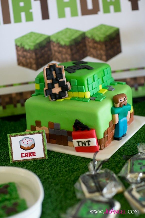 9 Awesome Minecraft Party Activities including Minecraft bingo, Minecraft pizza, Minecraft tee shirt painting, Minecraft bingo, and a creeper pinata!