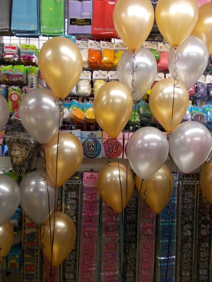 Amazing gold and silver pearlised balloons.