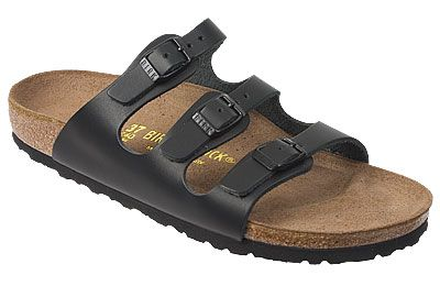 Birkenstock Florida Black Leather Get stylish comfort with these versatile sandals. Three straps from the bottom of your toes to your instep keep you secure, but give you the easy wear of a slip-on. Cork footbed supports your arches to keep you comfortable all-day. #birkenstock #birkenstockexpress.com  $120