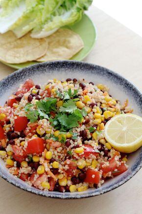 Mexicaanse maaltijdsalade met gierst. Lekker voor zomerse avonden, super makkelijk om te maken!