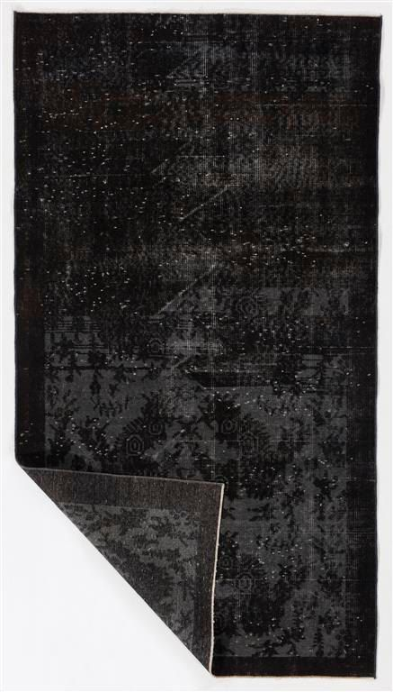 3'7 x 6'7 112 x 203 cm Turkish Overdyed Rug Black by ZorlusShop