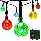 easyDecor Globe Battery Operated String Lights 30 LED (Included Rechargeable 18650 Battery) with Automatic Timer 8 Mode Crystal Ball Christmas Lights for Garden Outdoor Holiday Decoration (Colorful)