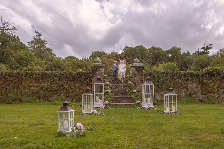Dramatic steps set of an intimate wedding ceremony Waterford Castle