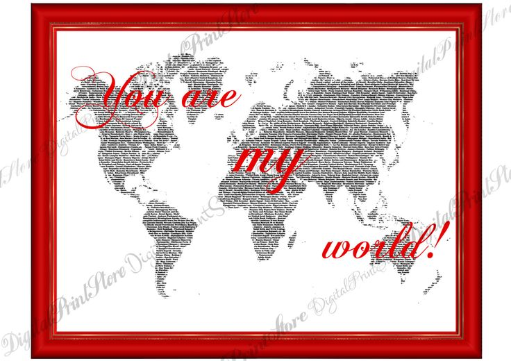 "Word Map, Map of the World, ""World Map 02"", Sign Map, World Map Print, Wall Print, Wall Poster, Map Decor, Printable Map, Typography Print by DigitalPrintStore on Etsy"