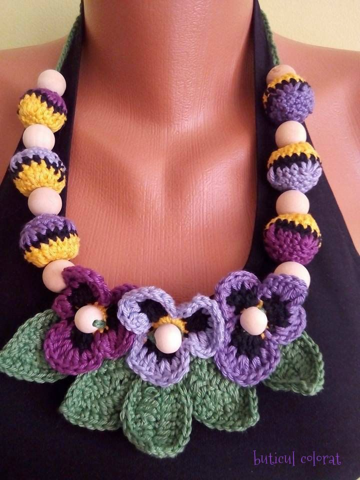 Crochet Pansy necklace, Purple pansies, Babywearing , breastfeeding, Sling ring jewelry, crochet purple flower by ButiculColorat on Etsy