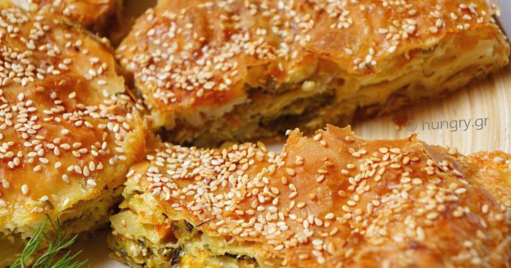 Zucchini Pie with Greek Feta, Μπουρέκι με Χωριάτικο Φύλλο, Κολοκυθόπιτα σε Χωριάτικο Φύλλο, Μπουρέκι με Φέτα, Μπουρέκι
