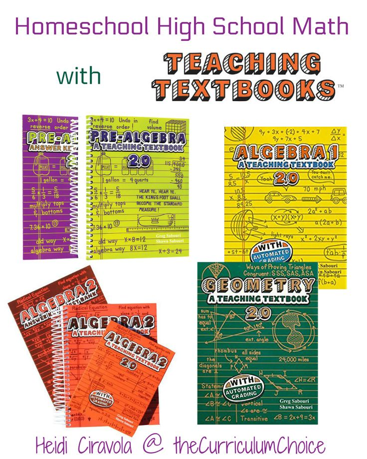 Teaching Textbooks is a great choice for homeschool high school math touting computer based lessons and automated grading it is an easy to implement option!
