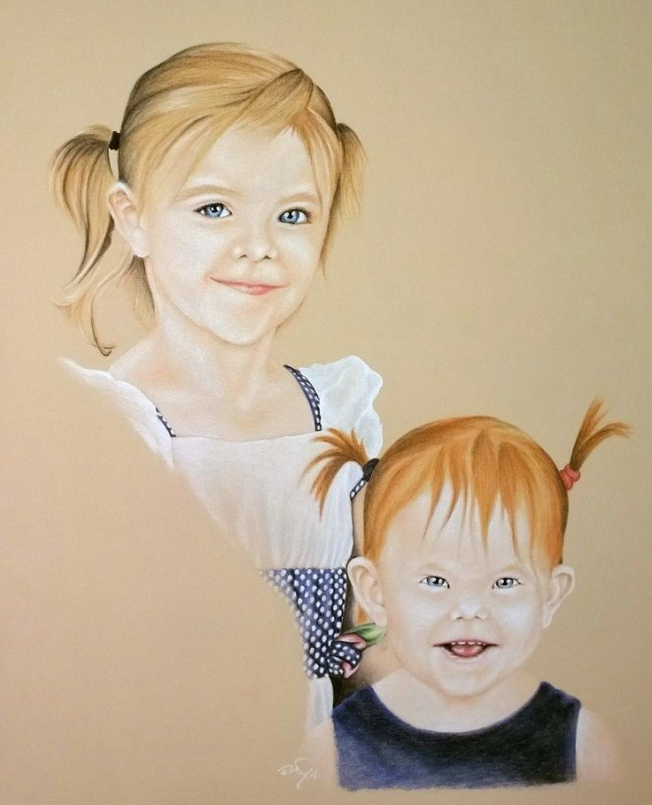 Two of my Grand-Daughters Coloured Pastel on Tan Stock Drawn by Michael McIntee