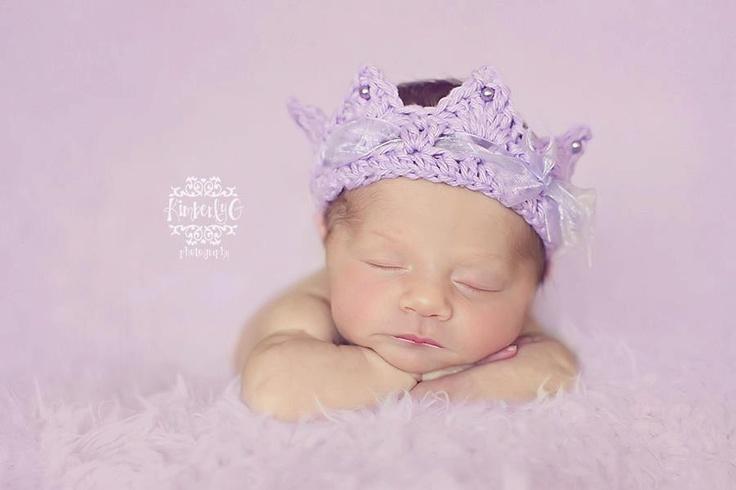 Crochet Crown, Newborn baby Crown, Princess Royalty Tiara Crown with ...