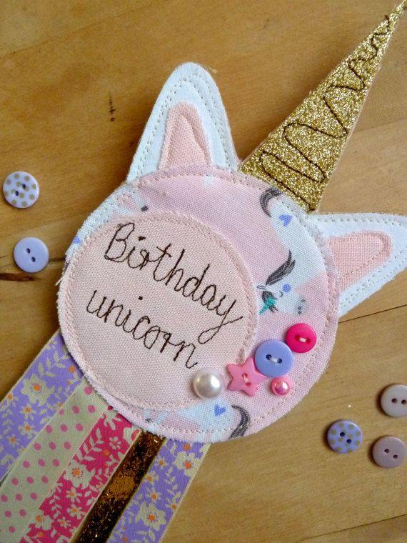 Birthday Unicorn Rosette // Unicorn Party // Brooch by KatiesShed