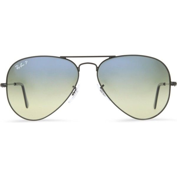 RAY-BAN Original aviator metal-frame polarised sunglasses with blue... ($260) ❤ liked on Polyvore featuring accessories, eyewear, sunglasses, glasses, sunnies, black, aviator sunglasses, uv protection glasses, aviator glasses and nose pads glasses